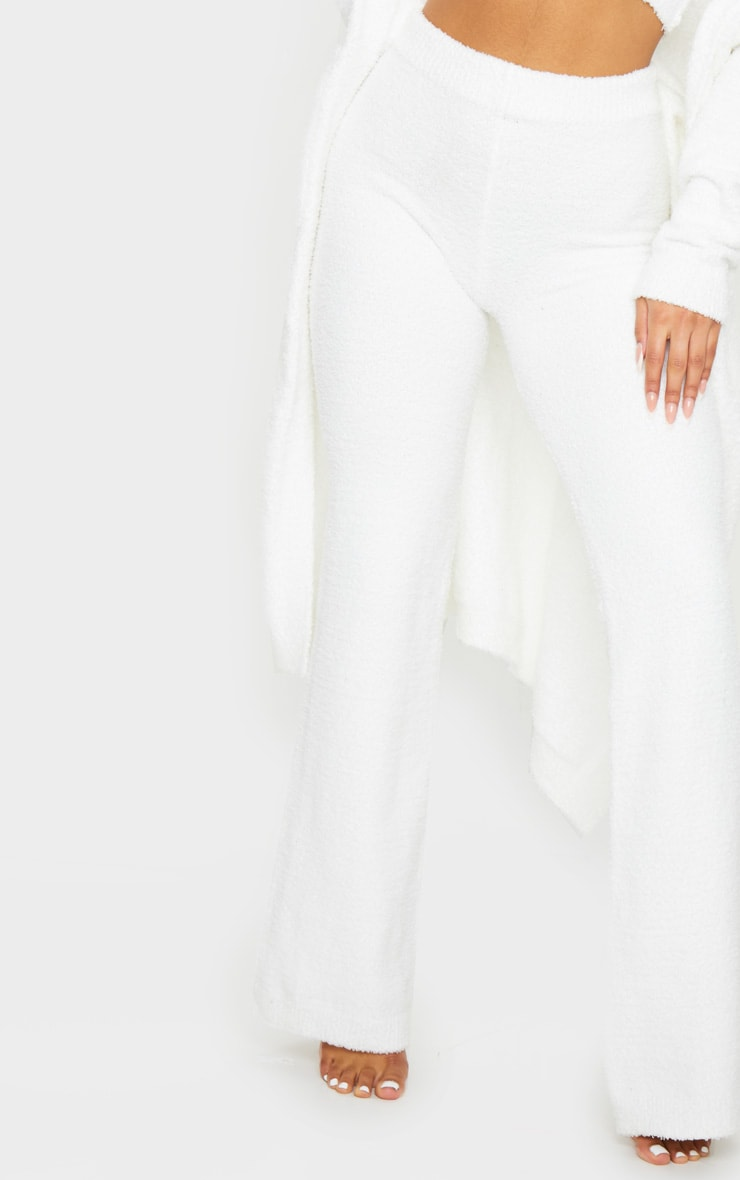 Cream High Waist Chenille Flared Trousers 4