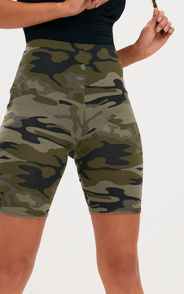 Khaki Camo Print Cycle Shorts 6