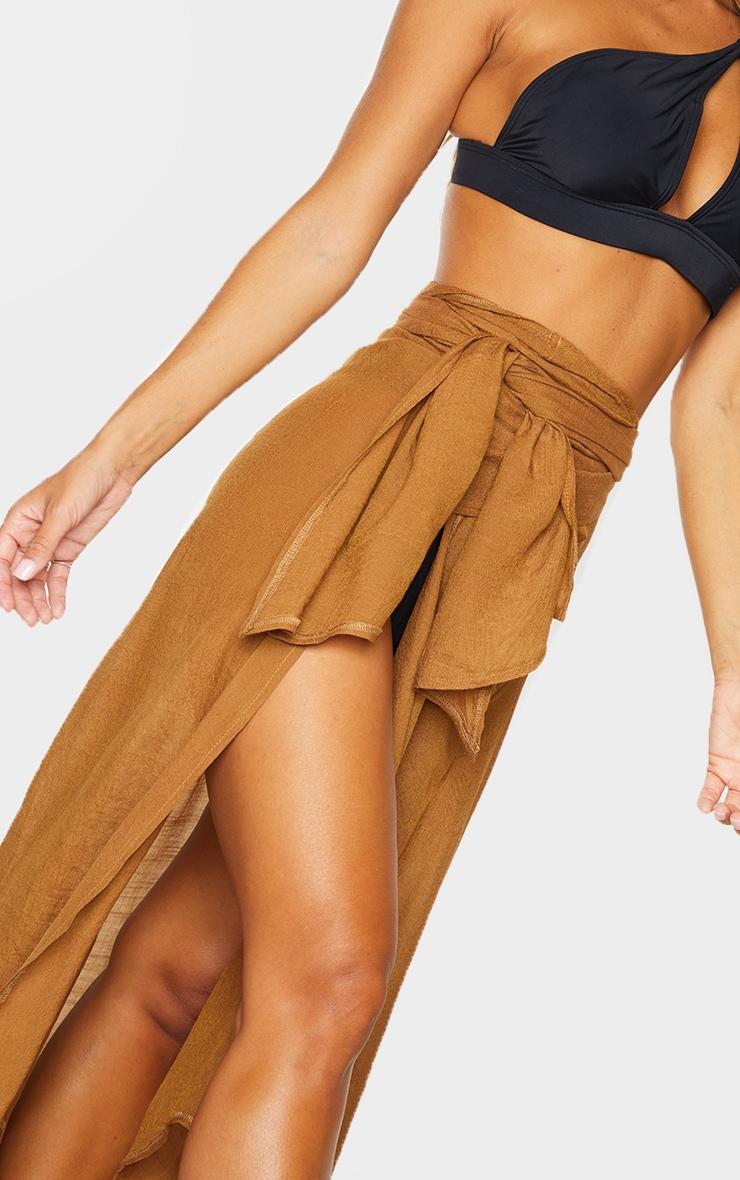 Brown Linen Look Maxi Beach Sarong 4