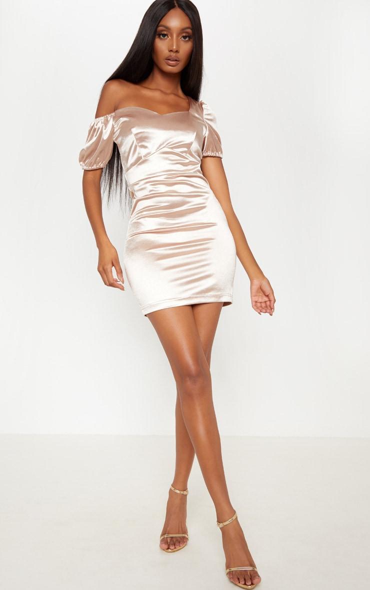 Champagne Sweetheart Puff Sleeve Satin Bodycon Dress