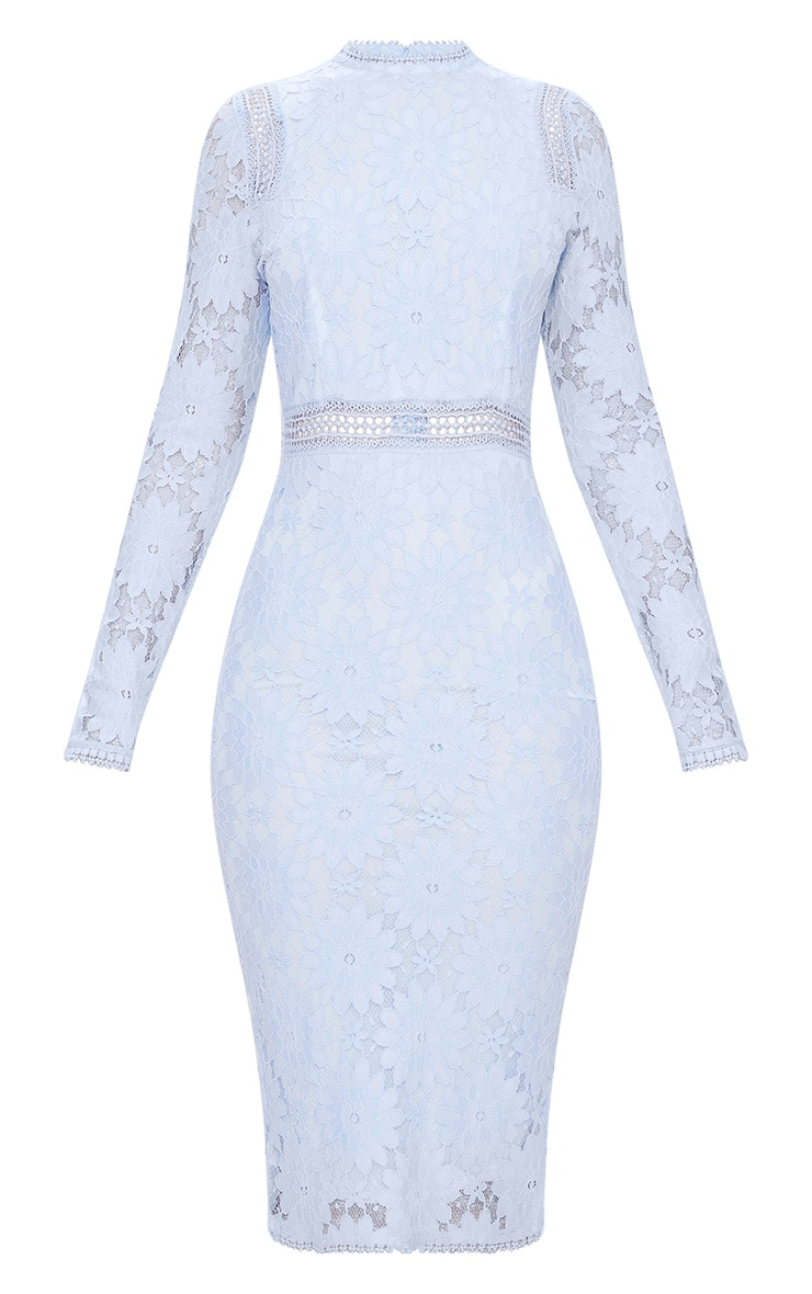 Dusty Blue Long Sleeve Lace Bodycon Dress 3