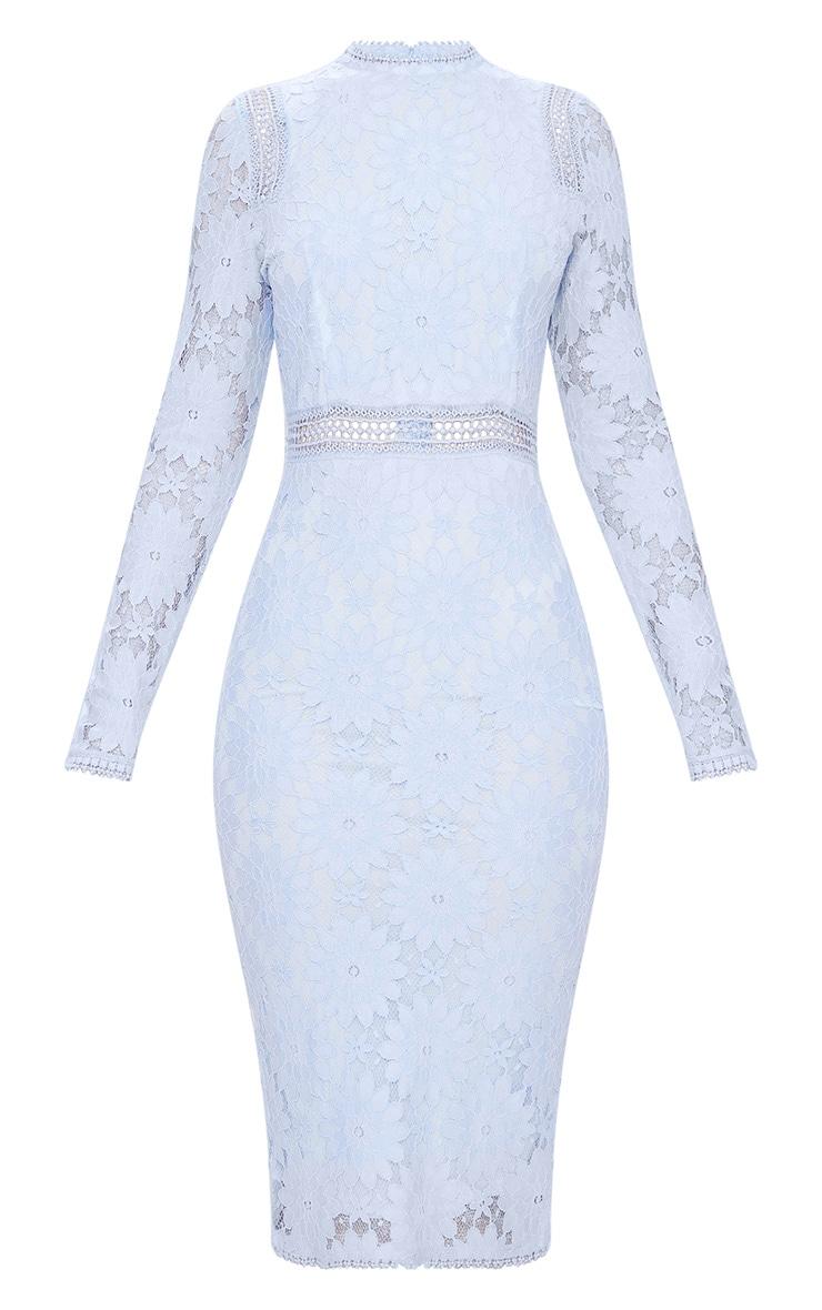Dusty Blue Long Sleeve Lace Bodycon Dress 4