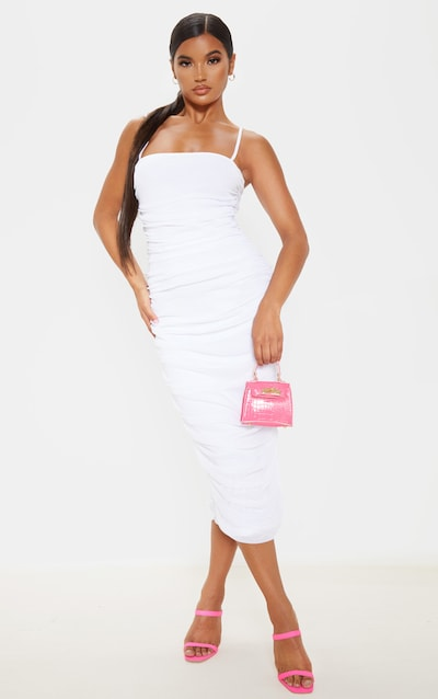 White Strappy Mesh Ruched Midaxi Dress