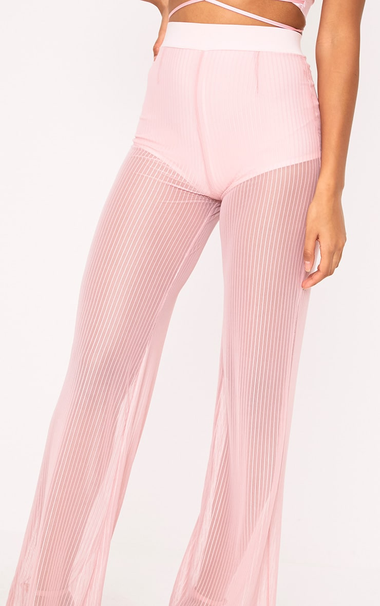 Shamira Pink Sheer Stripe Wide Leg Trousers 5