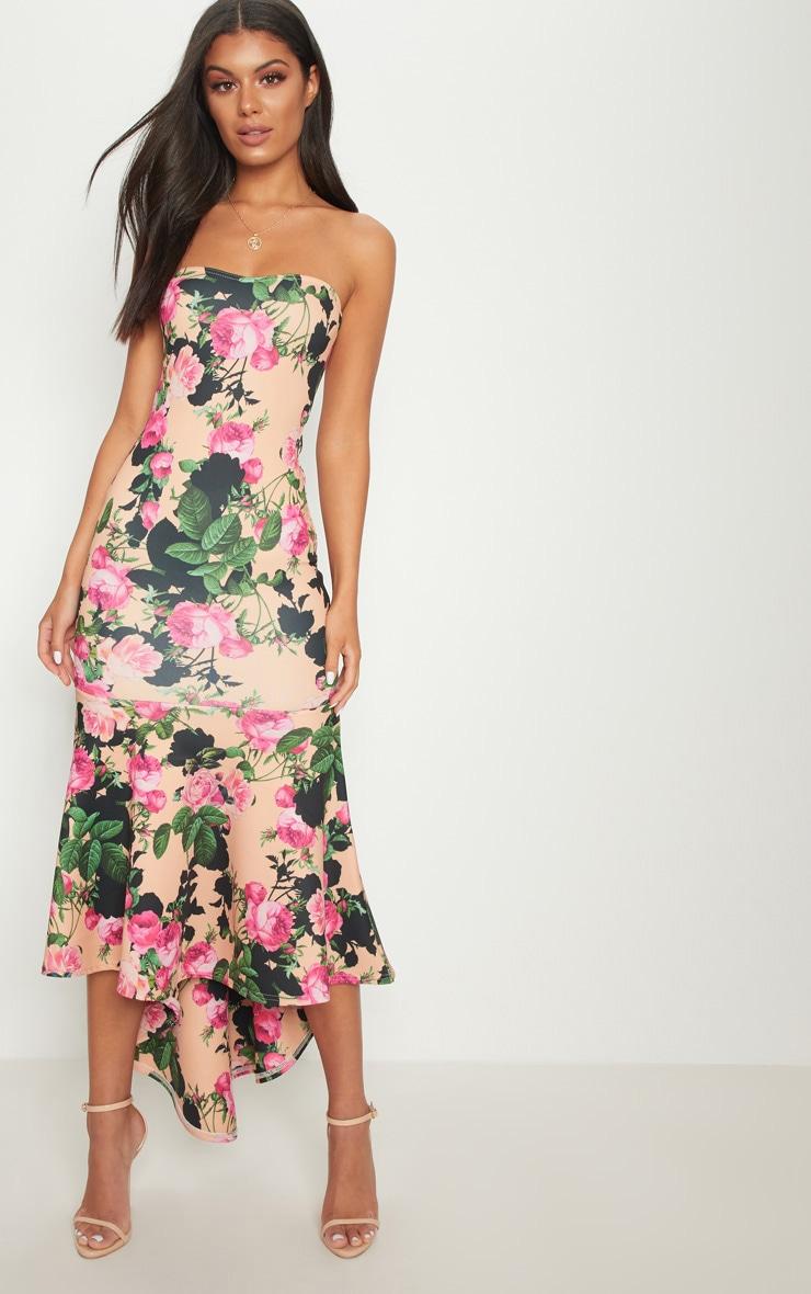 Peach Floral Bandeau Fishtail Midi Dress 2
