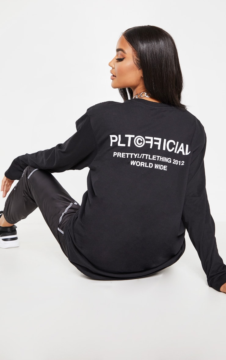 PRETTYLITTLETHING Black Official Slogan Long Sleeve T Shirt 1