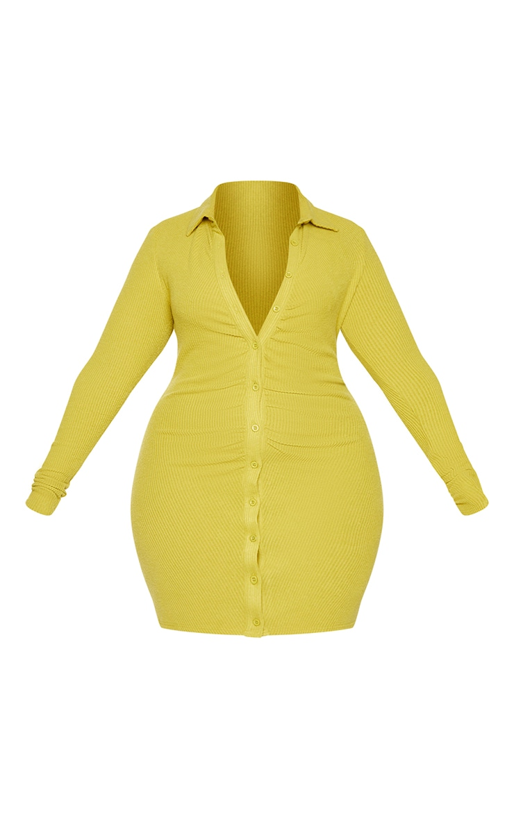 Plus Chartreuse Brushed Rib Long Sleeve Ruched Shirt Dress 5