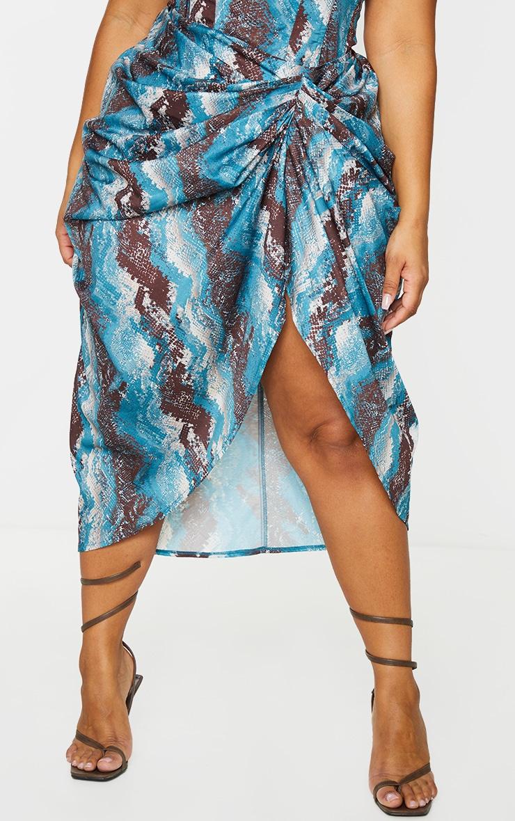Plus Teal Snake Print  Print Ruched Side Midi Skirt 2