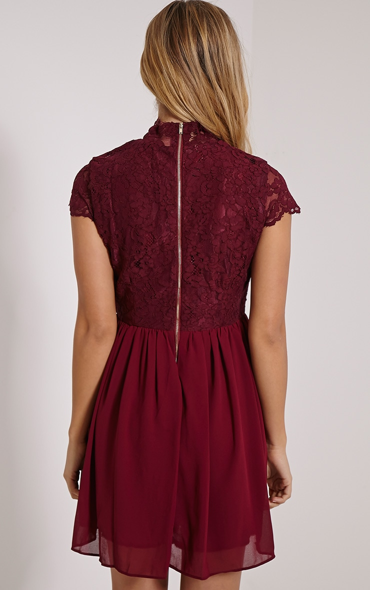 Ella Burgundy High Neck Lace Skater Dress 2