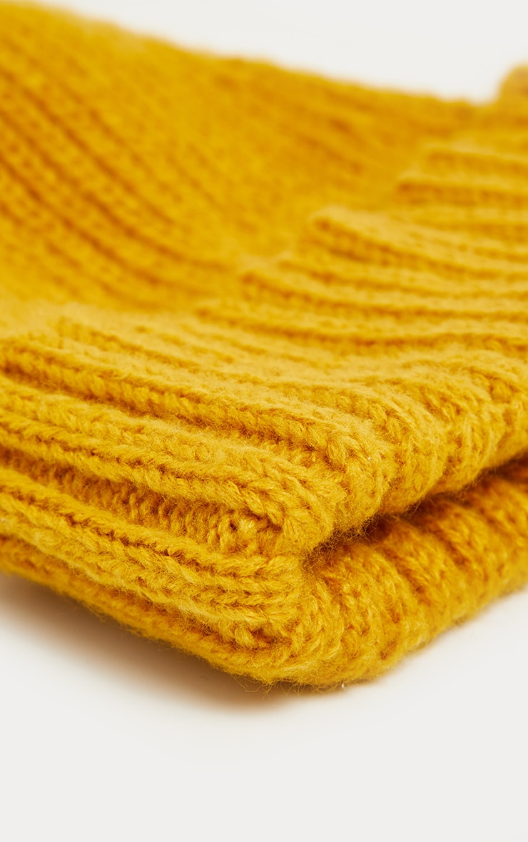 Mustard Ribbed Knitted Beanie 3