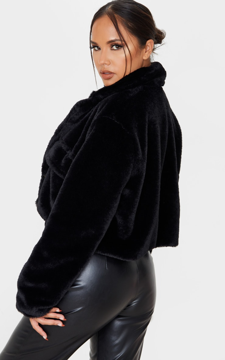 Black Faux Fur Cropped Pocket Jacket 2