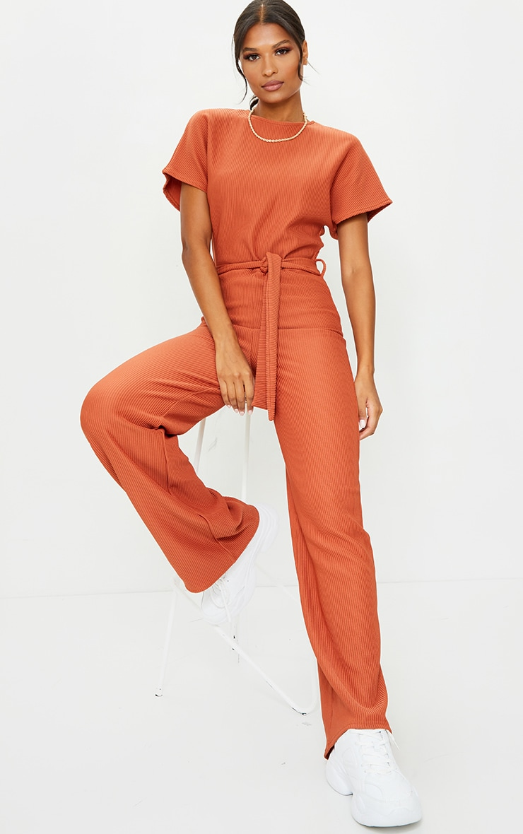 Rust Thick Rib Tie Waist Wide Leg Jumpsuit 3