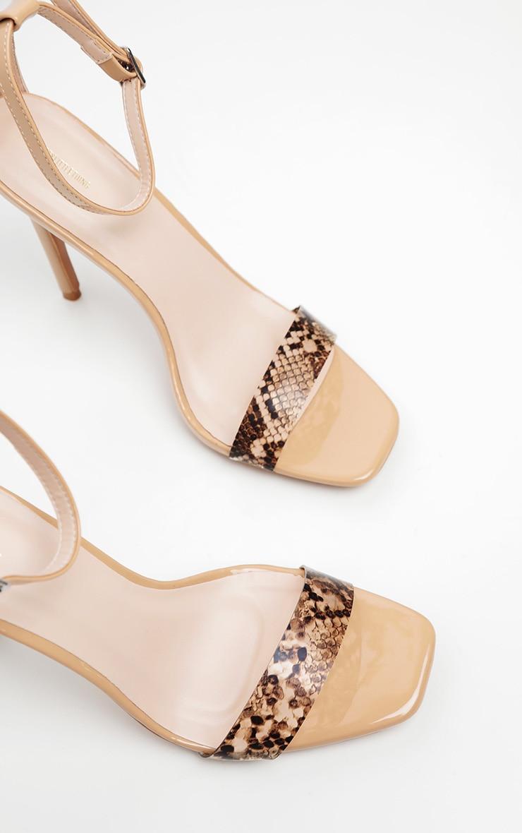 Nude Square Toe Snake Strap Sandal 4