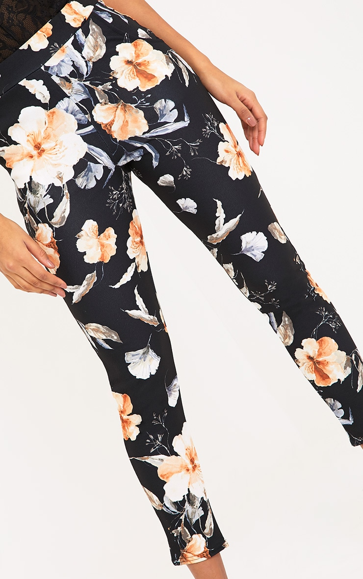 Black Floral Print Trousers 5