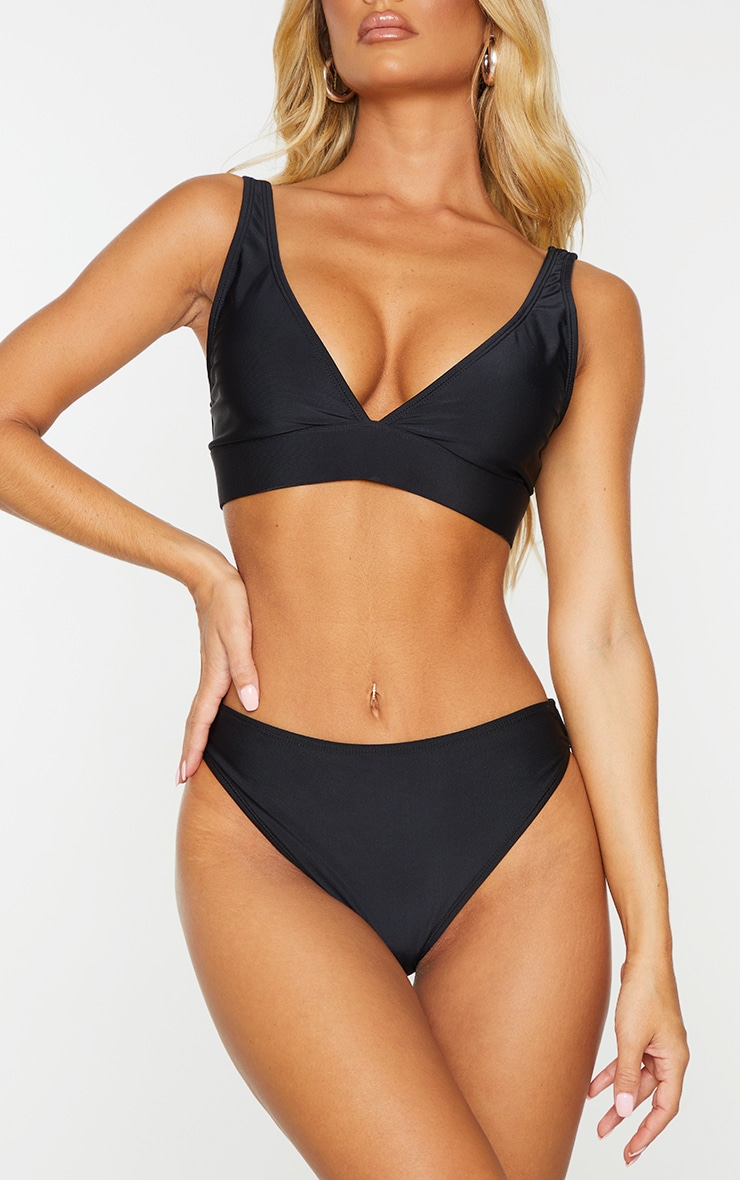 Black Mix & Match Recycled Fabric Cheeky Bum Bikini Bottoms 1