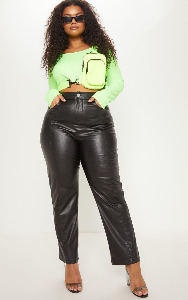 Plus Black Faux Leather Straight Leg Pants 1