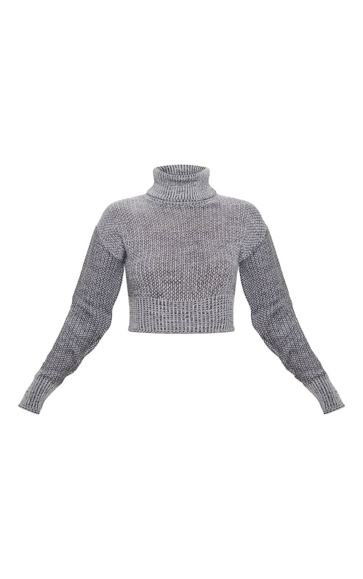 Grey High Neck Mixed Yarn Knitted Jumper 3