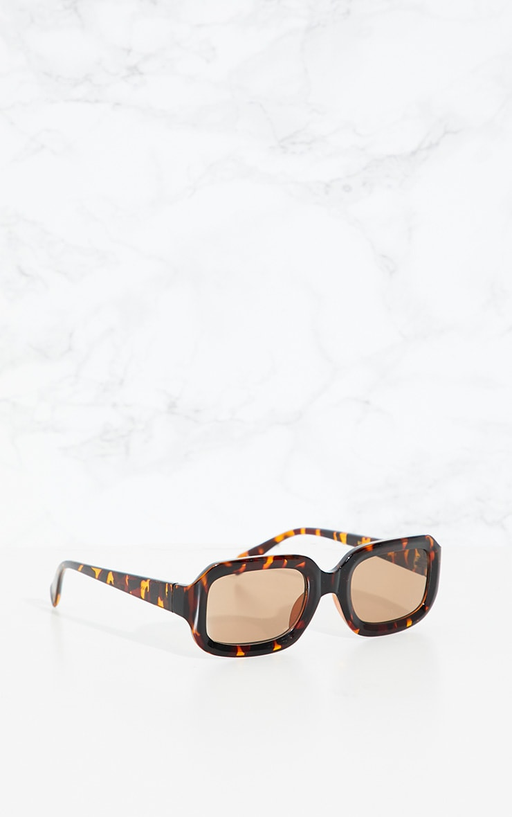 Tortoise Shell Square Retro Chunky Sunglasses 2