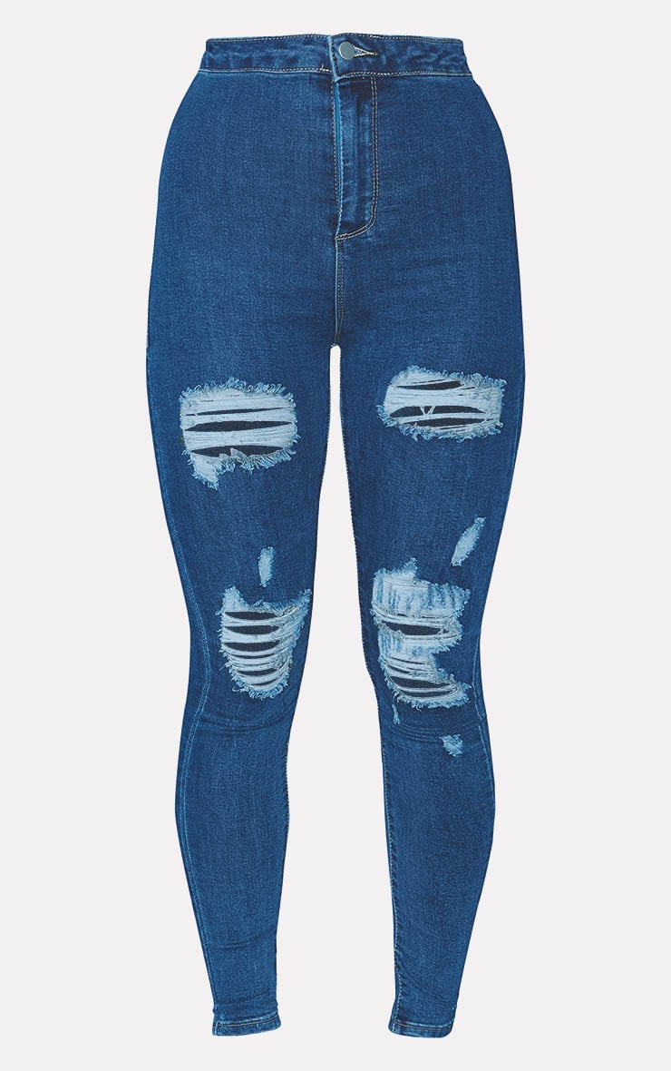 PRETTYLITTLETHING Mid Blue Distressed Disco Skinny Jean 3