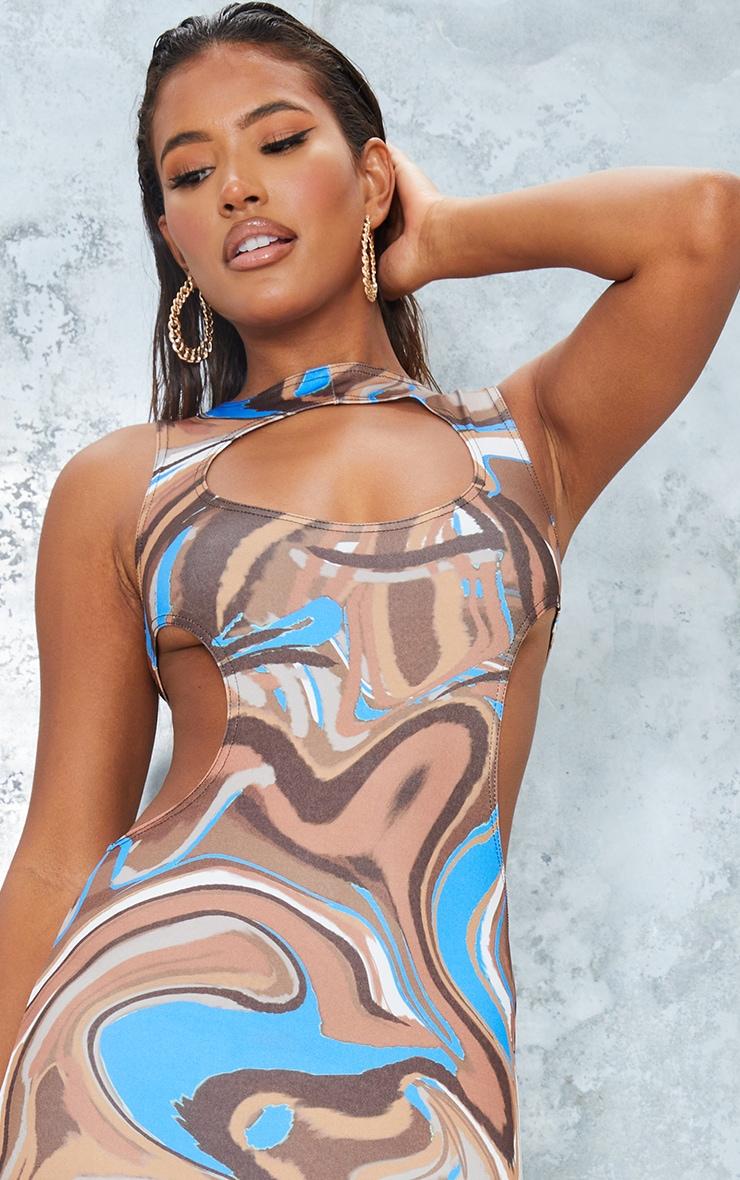 Brown Marble Print Slinky Waist Cut Out Sleeveless Midaxi Dress 4