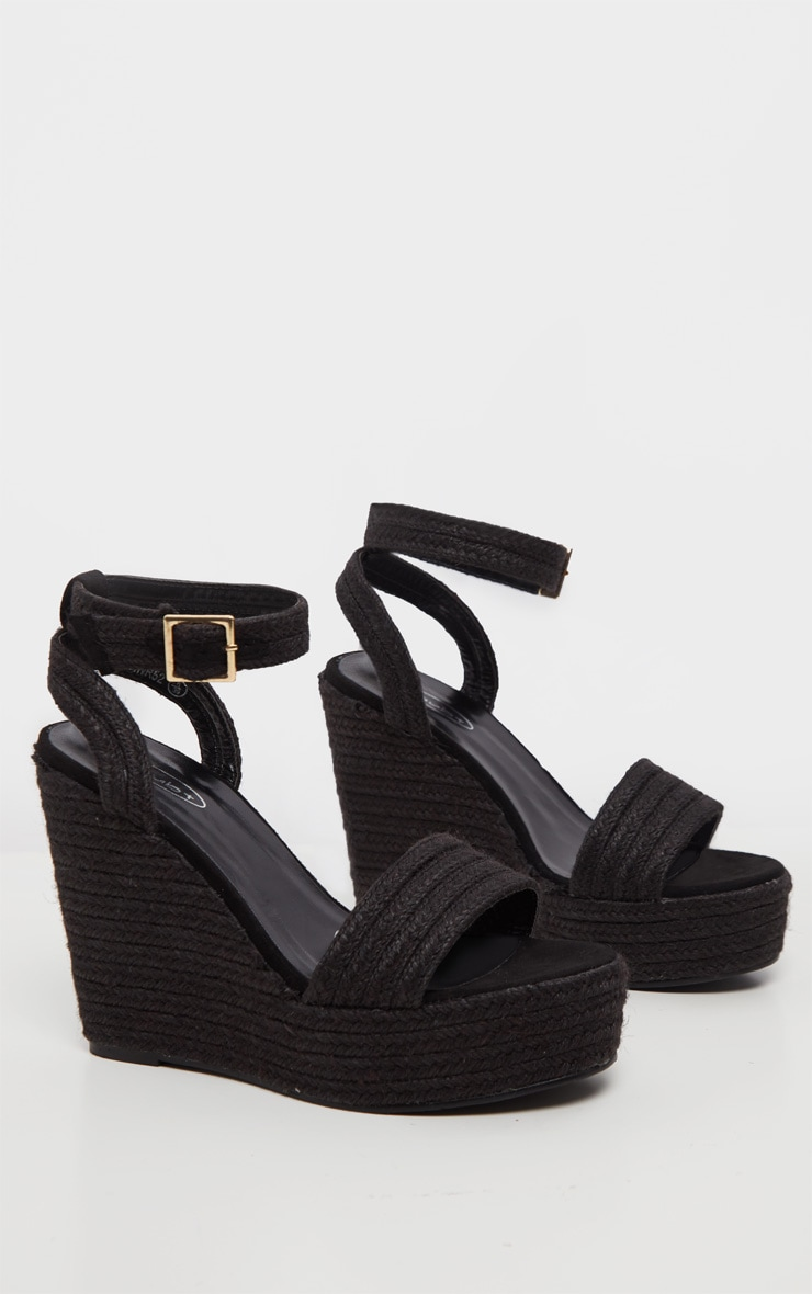 Black Espadrille Wedge Sandal 3