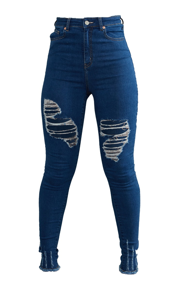 PRETTYLITTLETHING Mid Blue Wash Ripped Hem Jeans 5