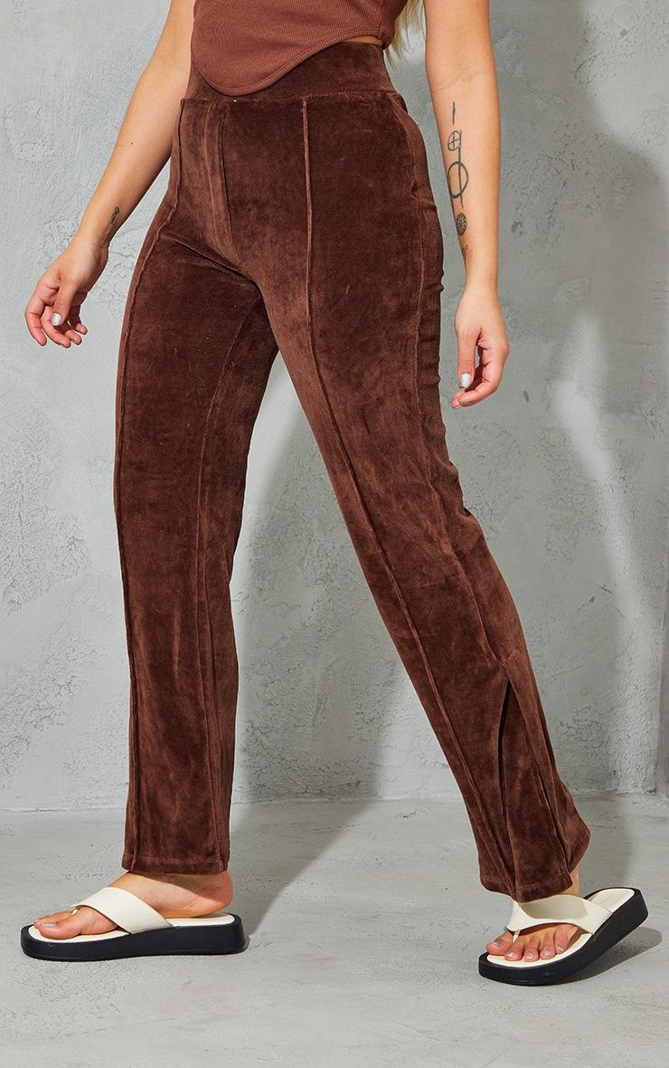 Petite Mocha Velour Seam Detail Wide Leg Sweat Pants 2