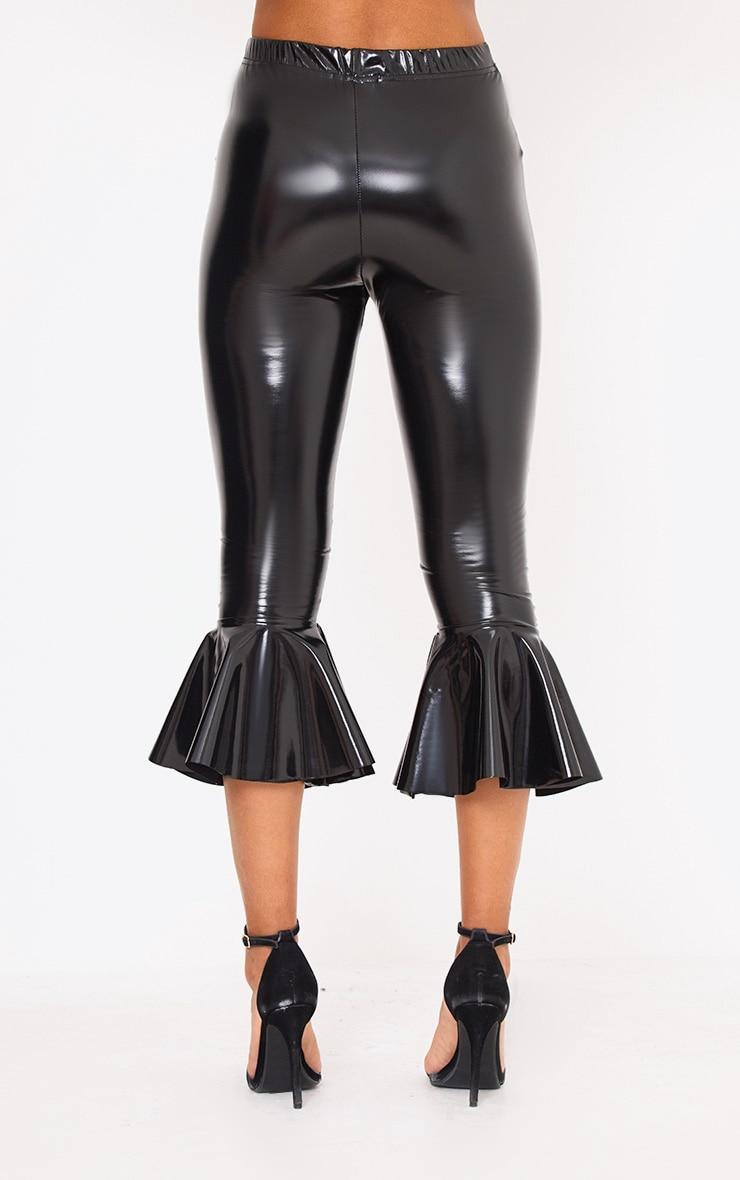 Black Vinyl Flare Hem Trousers 4
