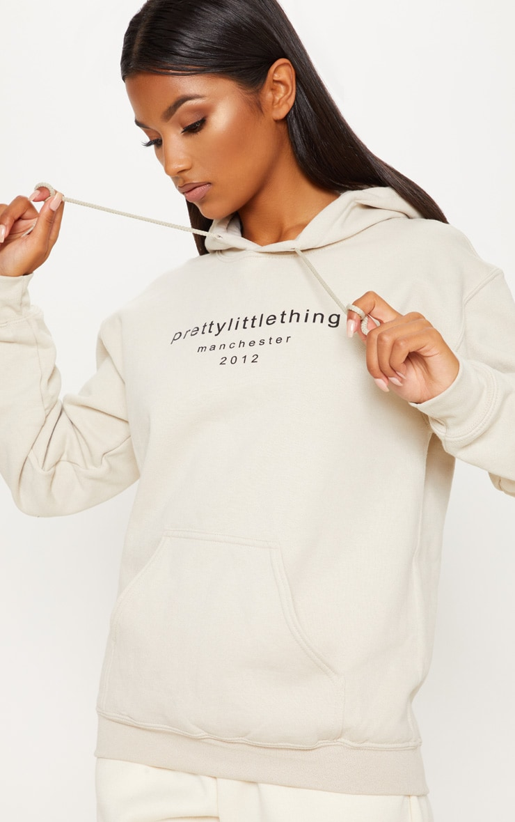 PRETTYLITTLETHING MANCHESTER STONE HOODIE