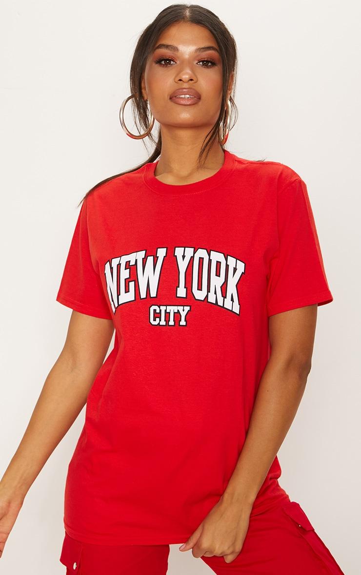 red new york city slogan oversized t shirt. Black Bedroom Furniture Sets. Home Design Ideas