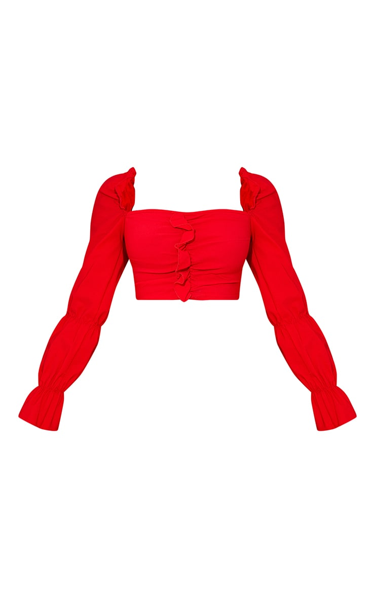 Red Woven Stretch Frill Ruched Front Long Sleeve Crop Top 5