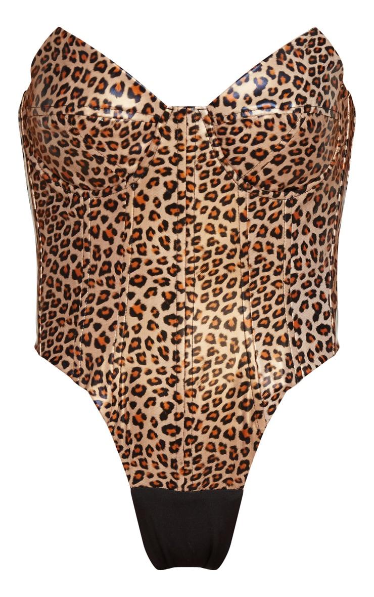 Tan Leopard Print Faux Leather V Wire Bodysuit 5