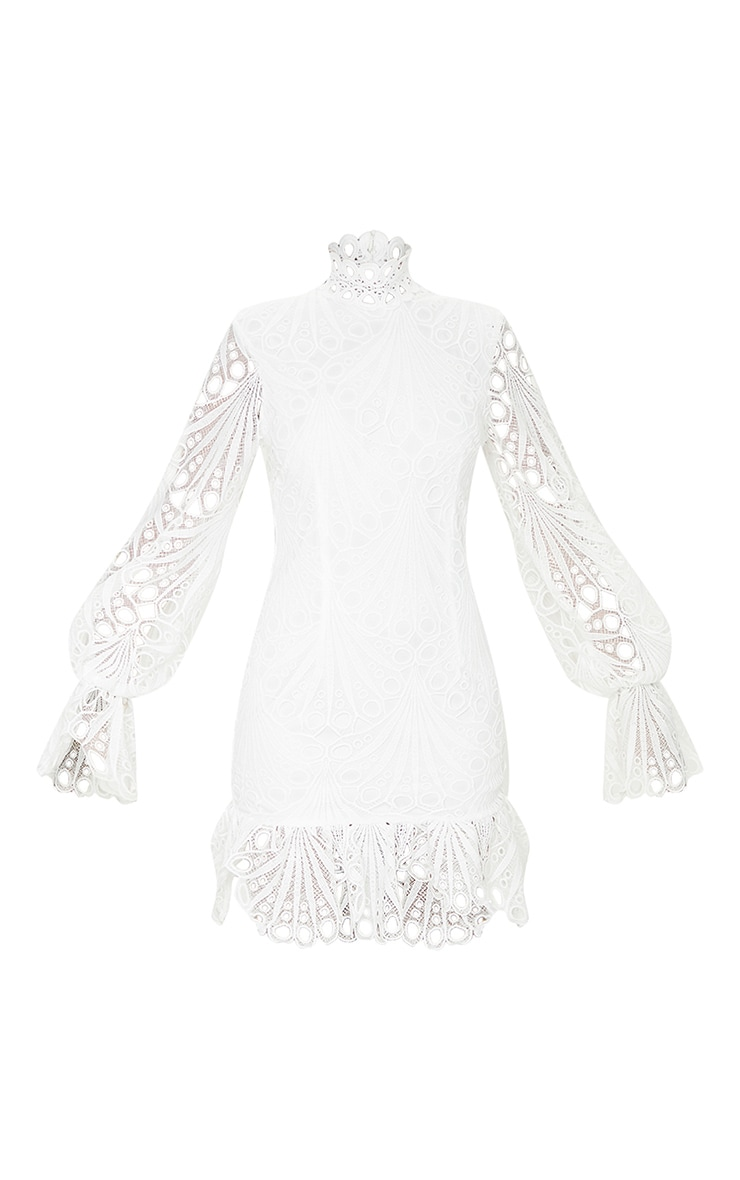 White High Neck Lace Long Sleeve Frill Bodycon Dress 5