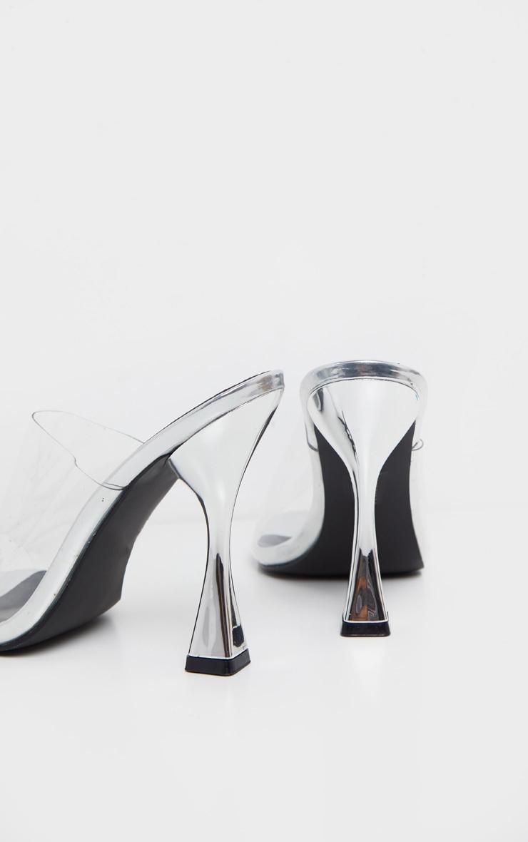 Silver Flare Heel Mule Sandal 4