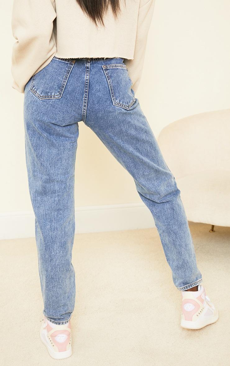 PRETTYLITTLETHING Tall Vintage Wash Extreme Distressed Hem Jean 3