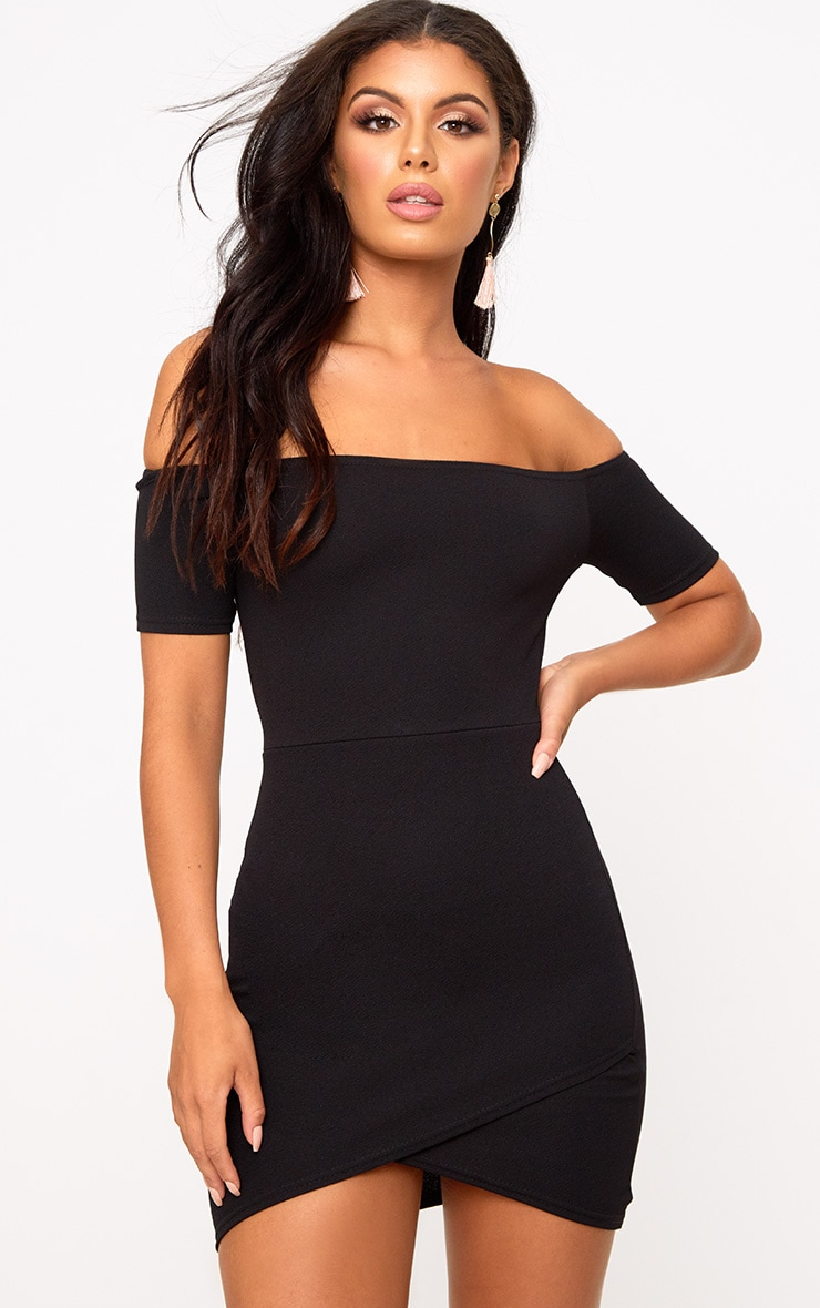 Black Bardot Wrap Skirt Bodycon Dress 1