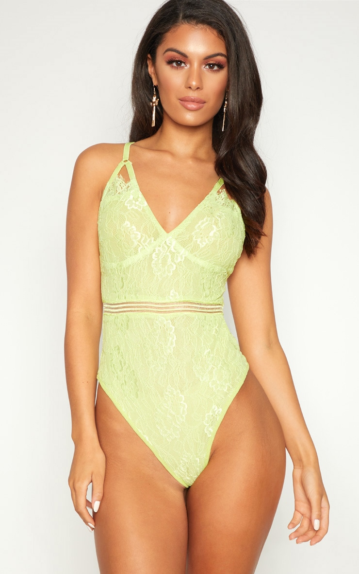 Lime Cut Out Detail Lace Thong Bodysuit 2