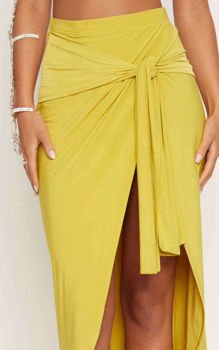 Lime Slinky Wrap Knot Front Midaxi Skirt 6