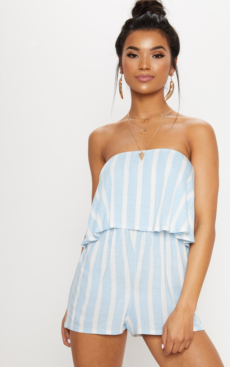 Powder Blue Striped Bandeau Layered Playsuit 1