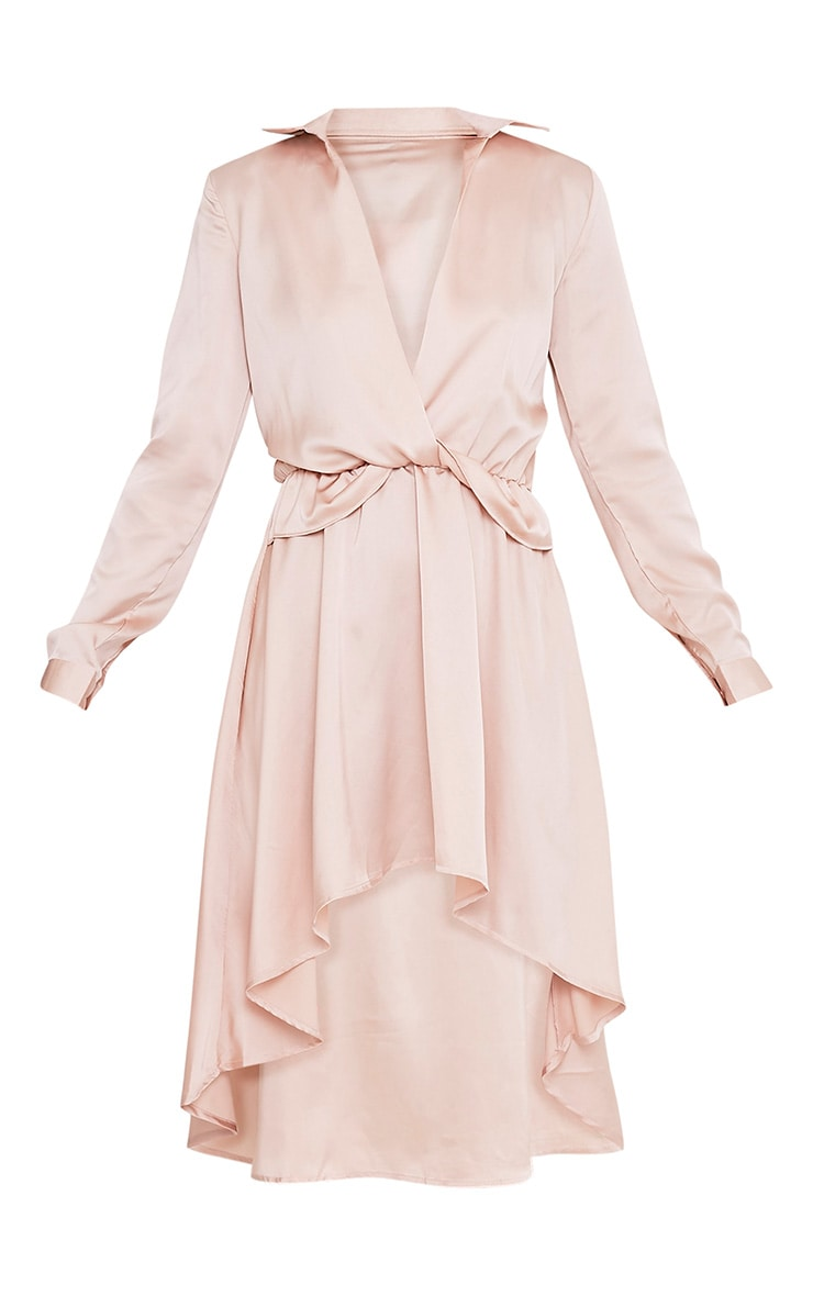 Gabbie Champagne Silky Wrap Over Midi Dress 3