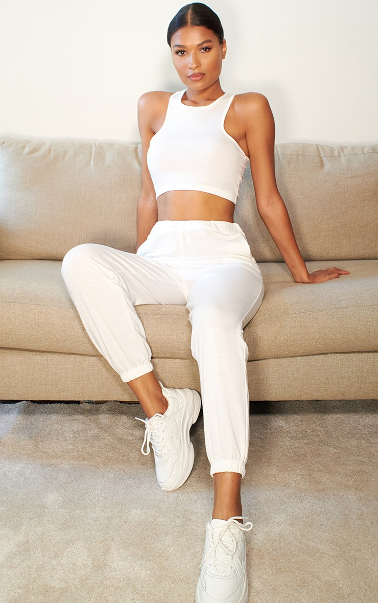 White Lightweight Racer Back Crop Top & Jogger Set 1