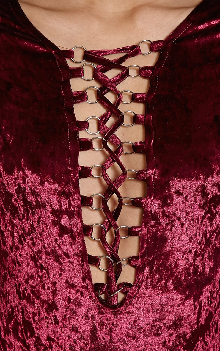 Jazz Burgundy Velvet Lace Up Bodysuit 8