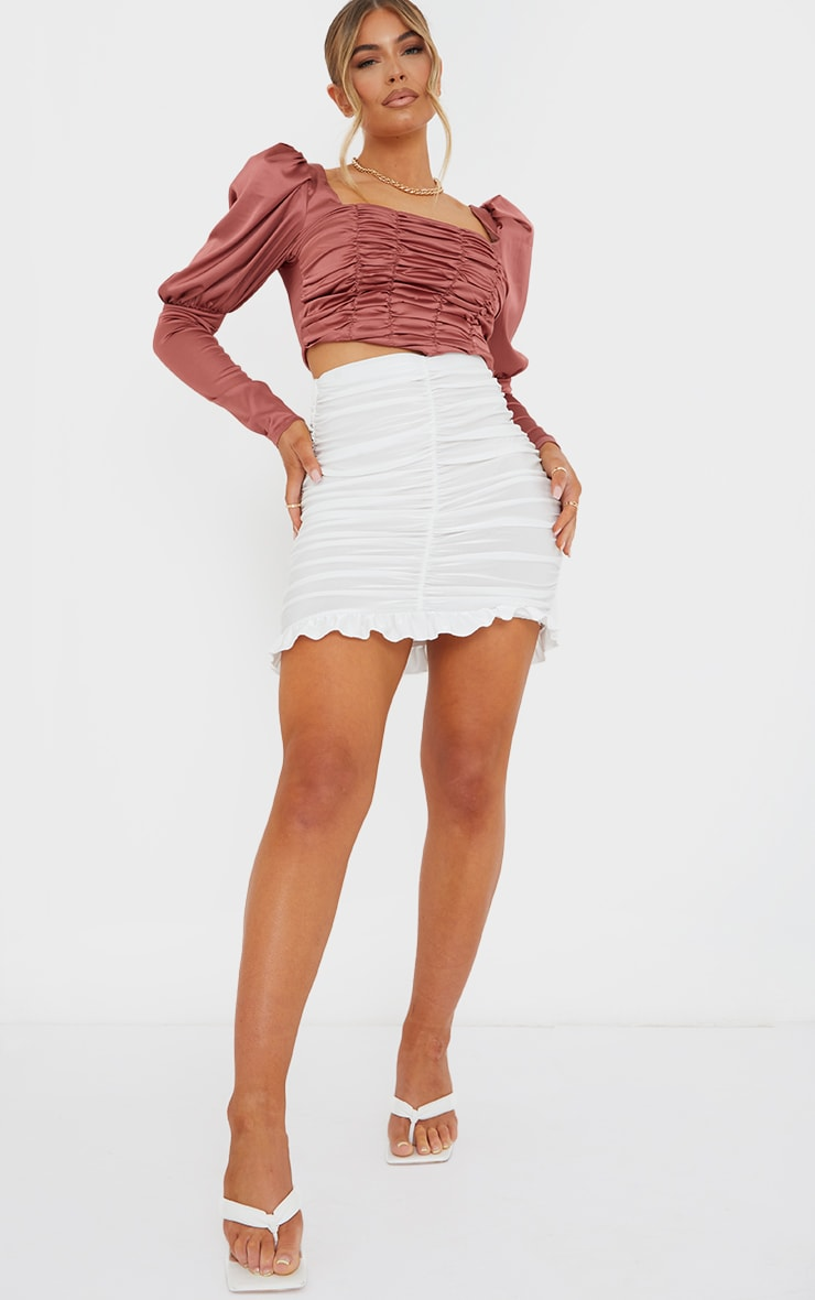 Terracotta Satin Ruched Front Puff Long Sleeve Crop Top 3
