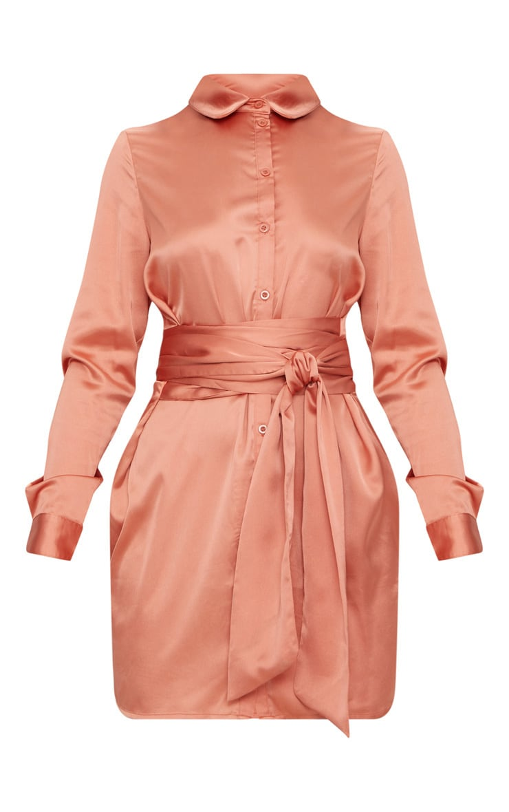 Copper Satin Tie Waist Shirt Dress 3