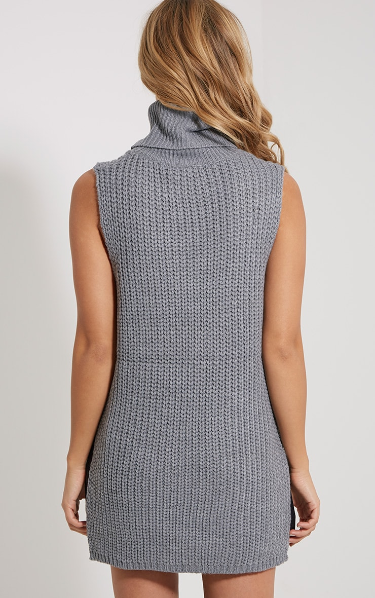 Lolla Grey Knitted Roll Neck Top 2