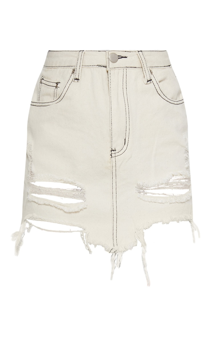 Ecru Contrast Stitch Distressed Denim Mini Skirt 3