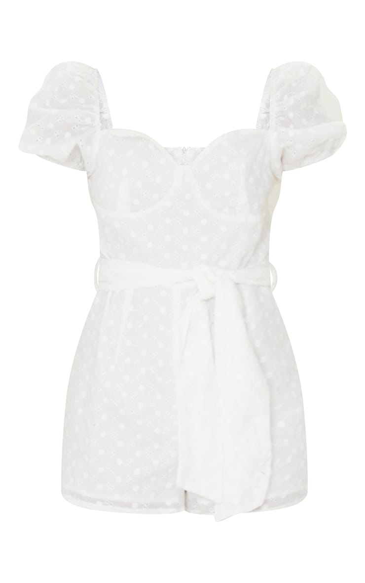 White Broderie Anglaise Puff Sleeve Cup Detail Playsuit 5