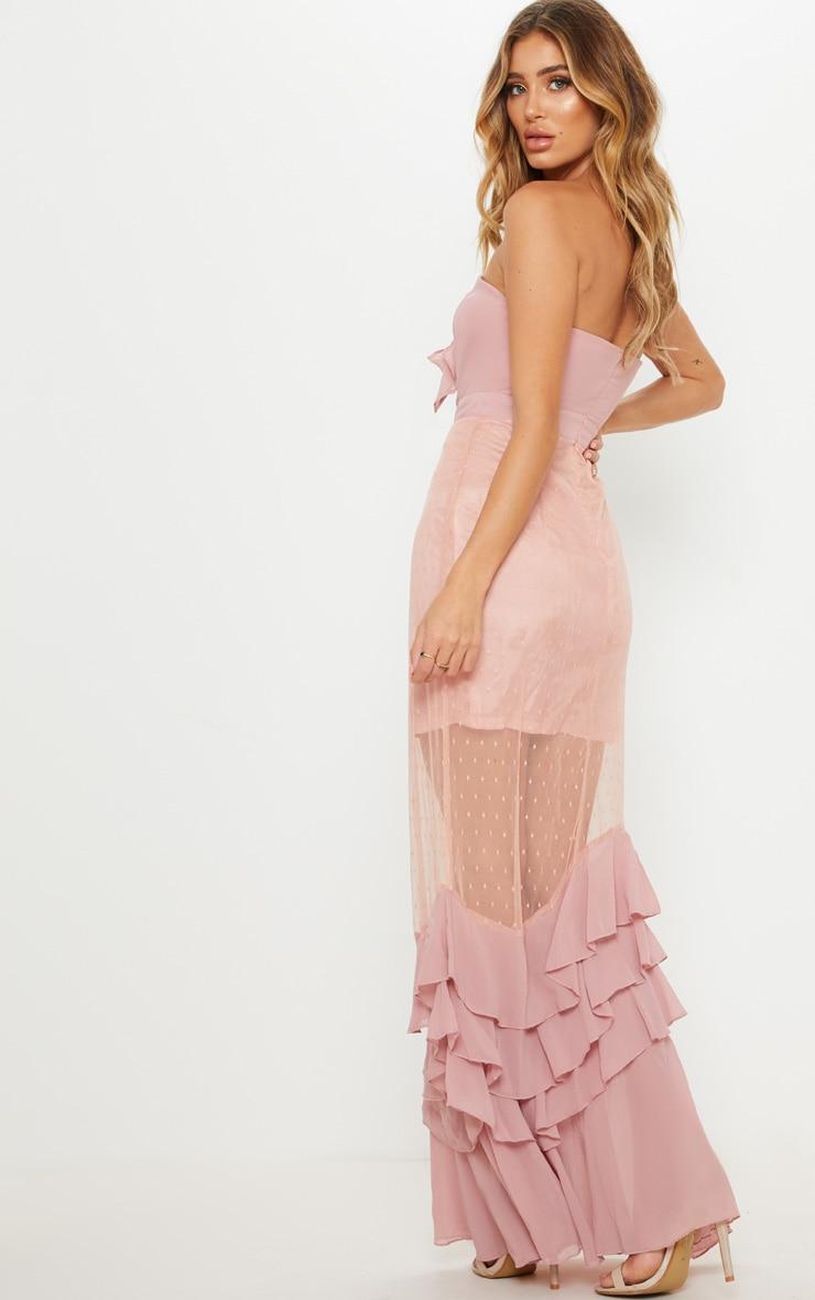 Dusty Pink Lace Bandeau Frill Hem Maxi Dress 2