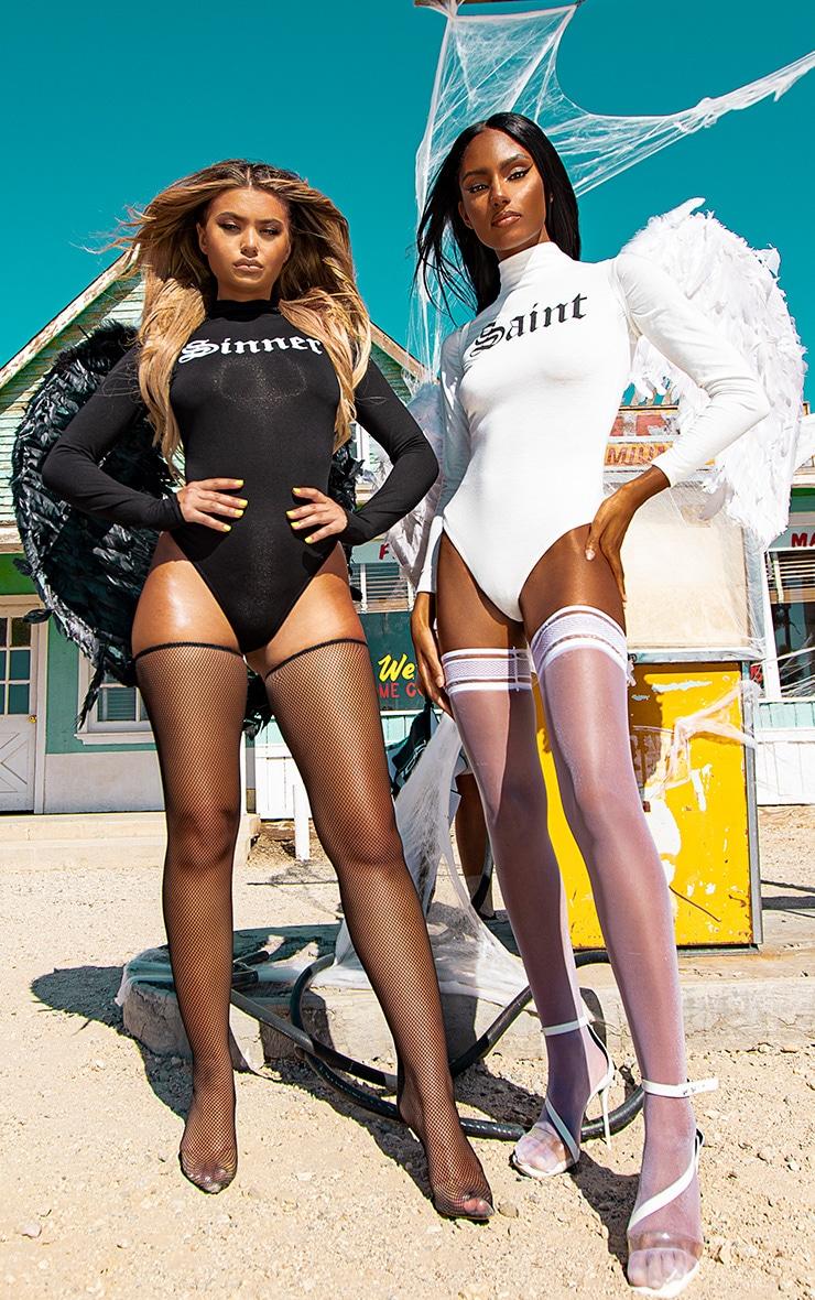 2 Pack Multi Saint & Sinner Slogan High Neck Bodysuit 1