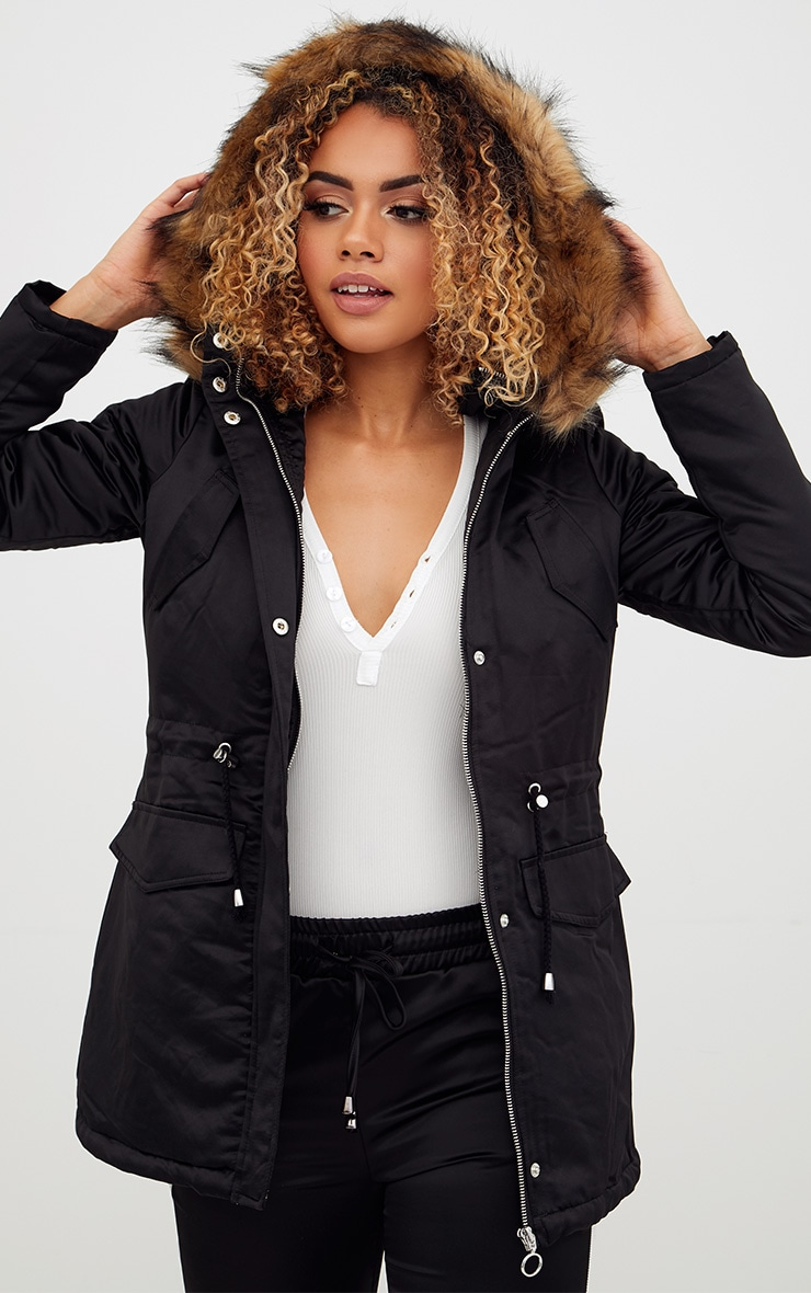 Black Satin Faux Fur Collar Parka Jacket 1